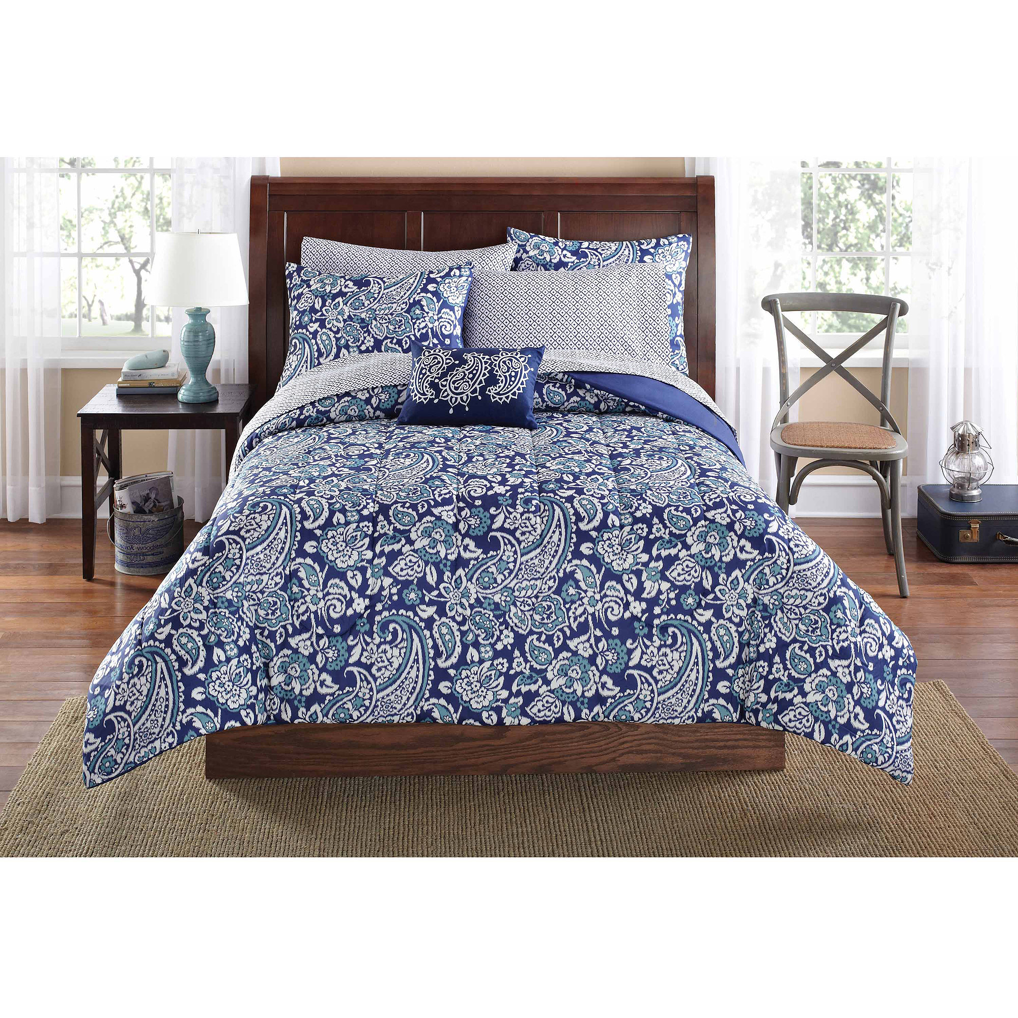 mainstays jaipur paisley bed in a bag set blue  walmartcom -