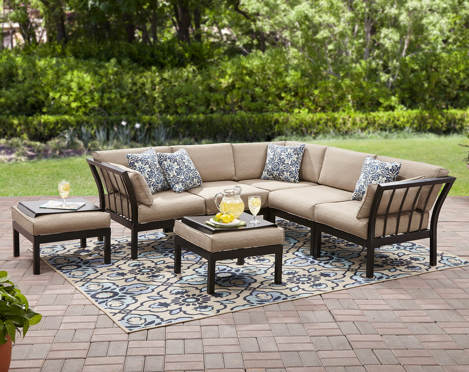 New Mainstays Ragan Meadow II Piece Outdoor Sectional Sofa Seats Walmart