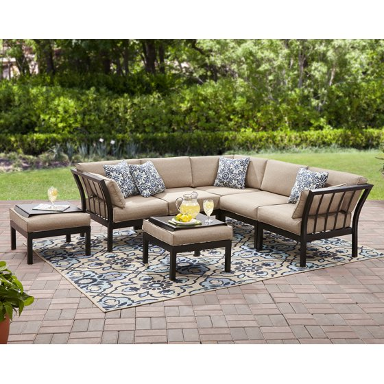 Mainstays Ragan Meadow Ii 7 Piece Outdoor Sectional Sofa Seats 5