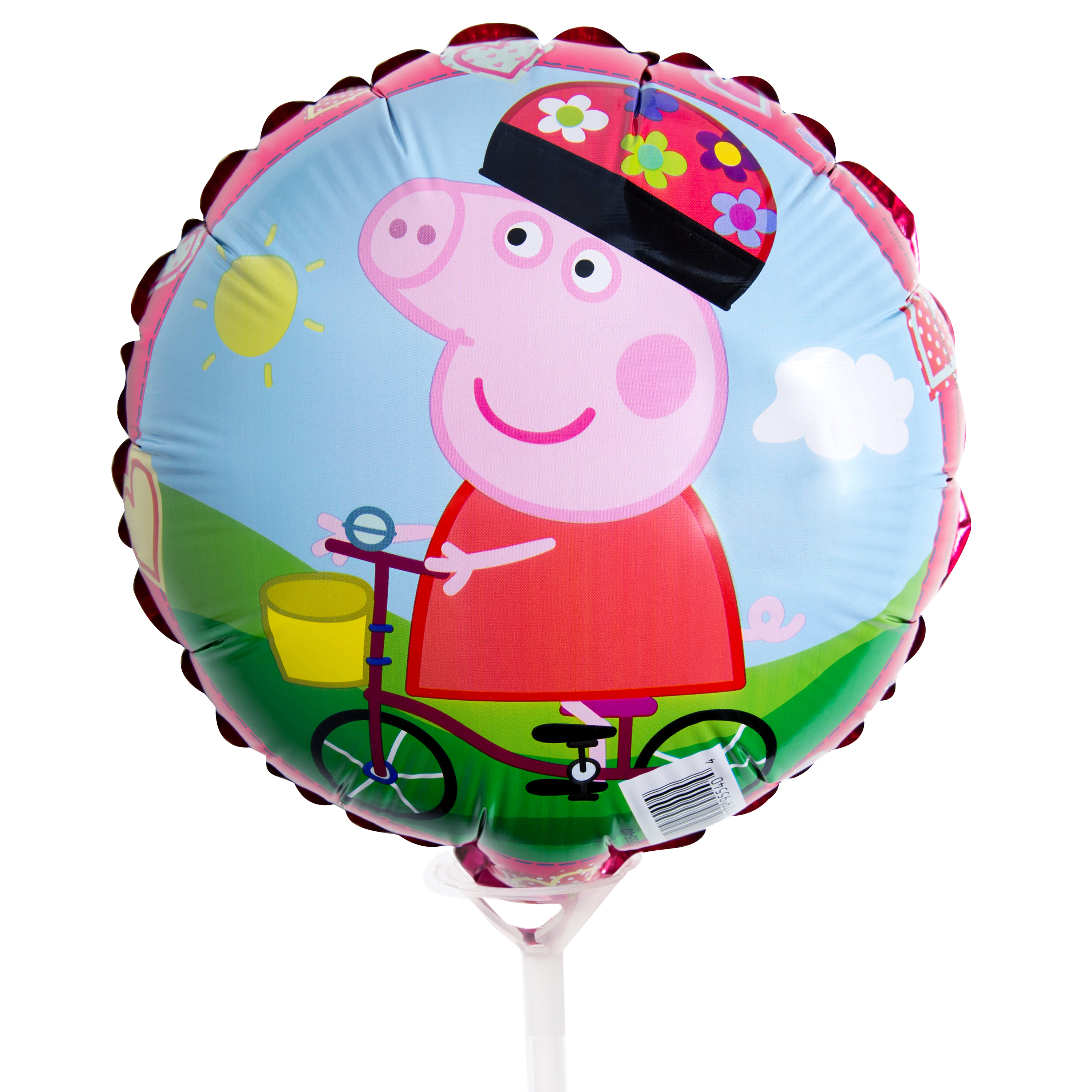 "9"" Foil Peppa Pig Balloon with Stick"