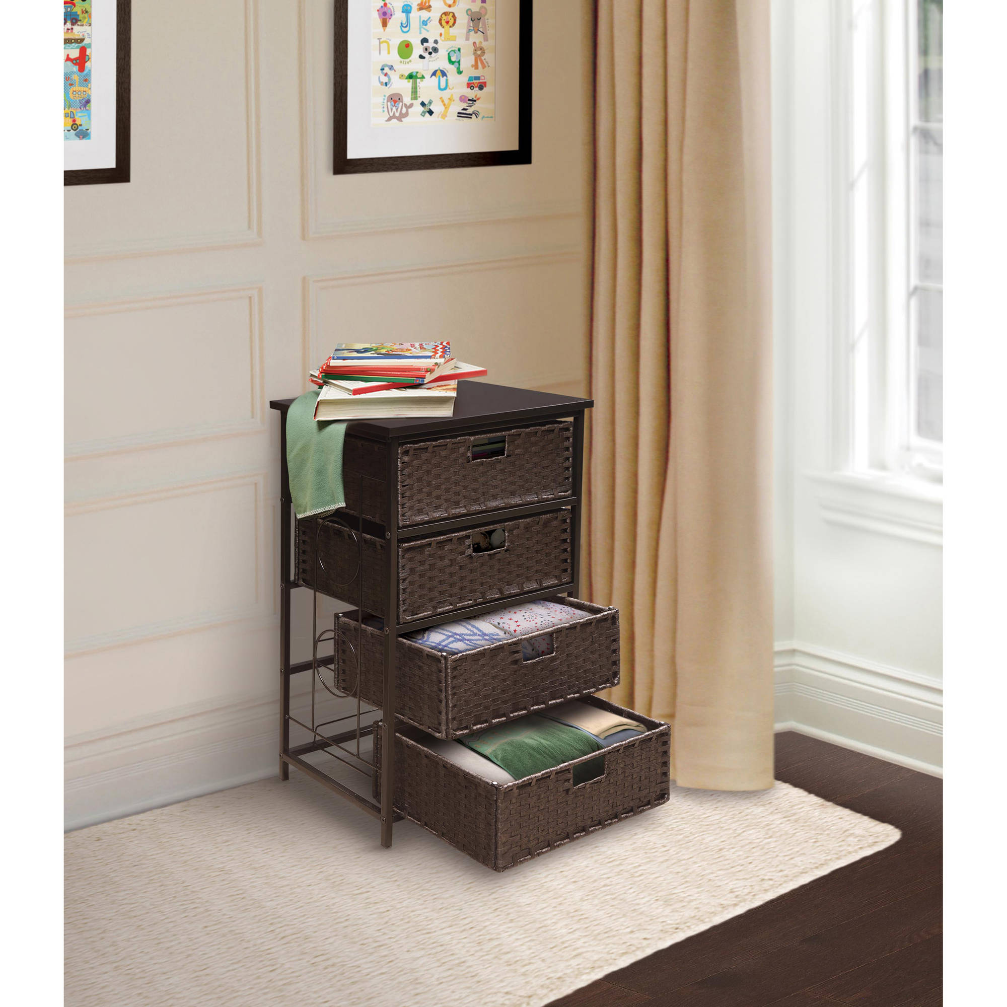 Badger Basket August Collection Tall Four-Basket Storage Unit, Espresso