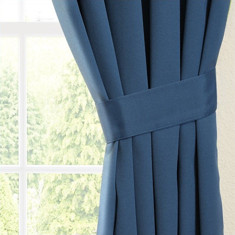 Blazing Needles Twill Curtain Panels in Indigo and Mojito Lime (Set of 2) - image 2 de 4