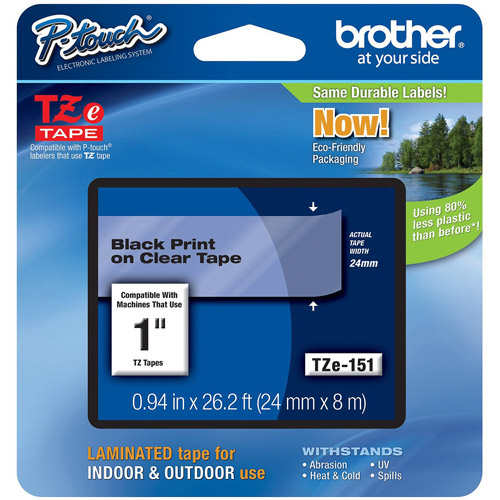 "Brother P-Touch TZE151 1"" Labeling Tape, Black on Clear"
