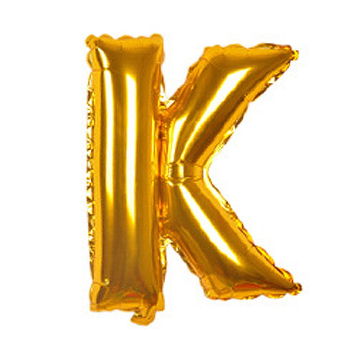 "Unique Bargains 40"" Gold Tone Foil Letter K Balloon Helium Birthday Wedding Festival Decor"