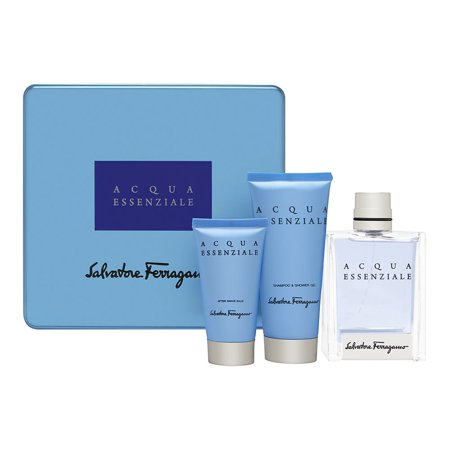 Apple Gel Eau De Toilette - Acqua Essenziale by Salvatore Ferragamo Pour Homme 3 Piece Set Includes: 3.4 oz Eau de Toilette Spray + 3.4 oz Shower Gel + 1.7 oz After Shave Balm