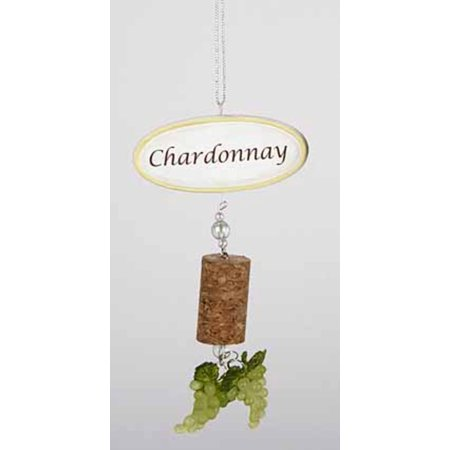 5.5 Tuscan Winery Chardonnay Sign with Cork and Grapes Christmas Ornament