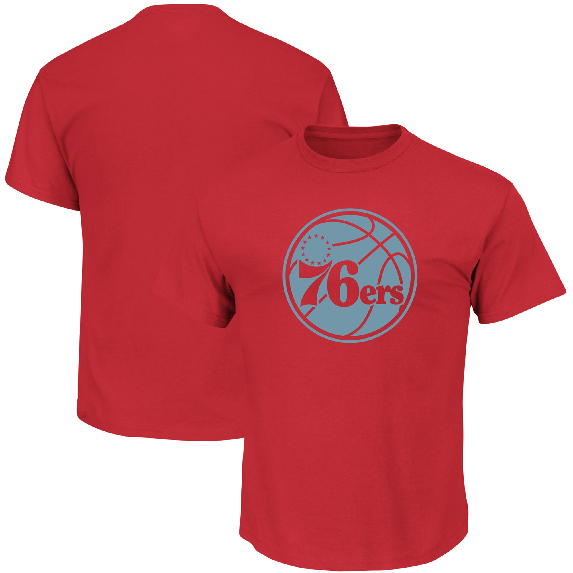 Philadelphia 76ers Majestic Reflective Tek Patch T-Shirt - Red