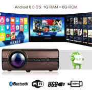 Excelvan BL46 Android 6.0 Multimedia LCD Projector, 1G RAM 8G ROM 1080P Wireless Connection With Smartphone Tablet for PC Laptop Game Console DVD TV Box