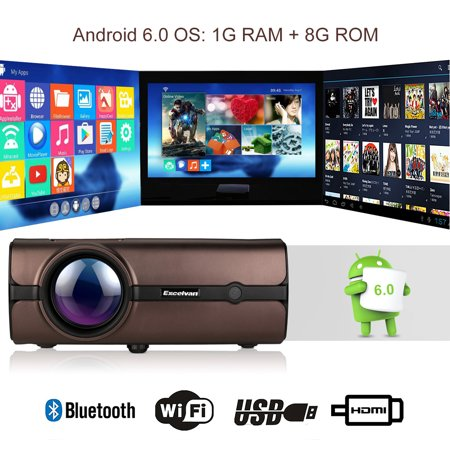 Excelvan BL46 (BL45 Upgraded with Android System and WIFI) Android 6.0 Multimedia LCD Projector 1G RAM 8G ROM Support Bluetooth 4.0 1080P Wireless Home Theater With USB VGA SD HDMI For PC Laptop DVD ()