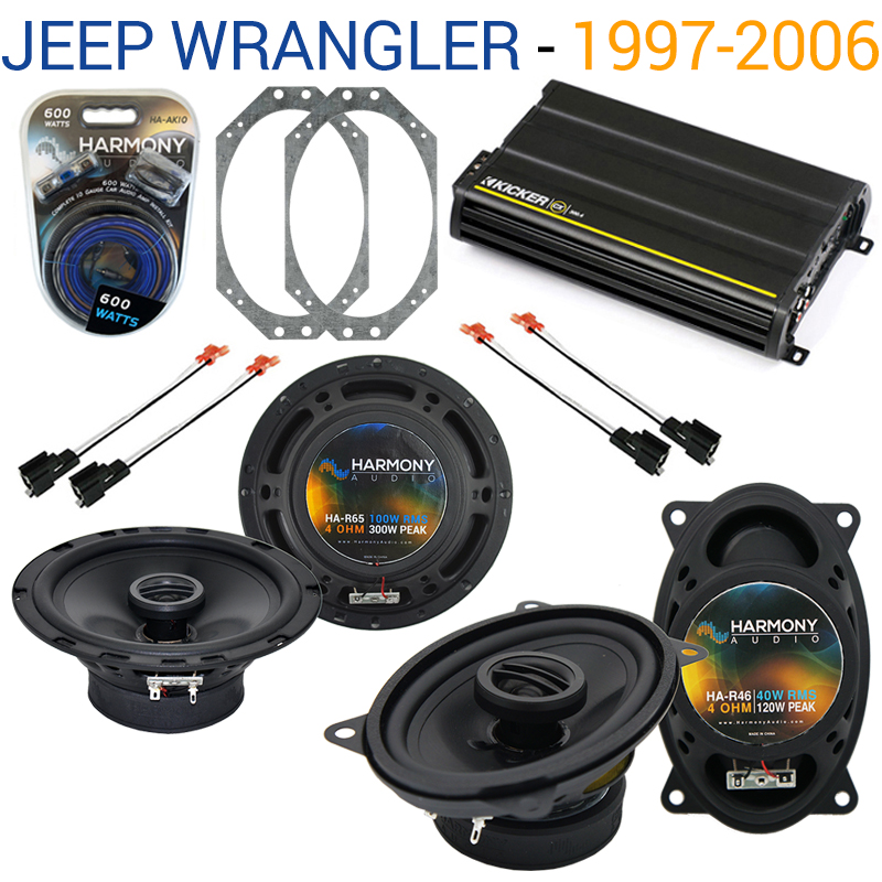 Jeep Wrangler 1997-2006 OEM Speaker Replacement Harmony R46 R65 & CX300.4 Amp - Factory Certified Refurbished