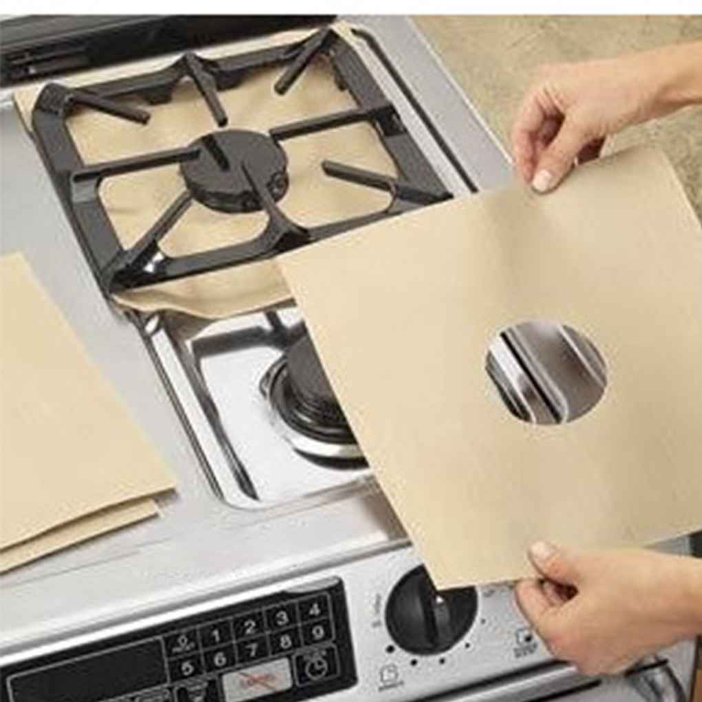 4pcs Kitchen Gas Stove Top Burner Reusable Protector Liner Cleaning Pad Cover N