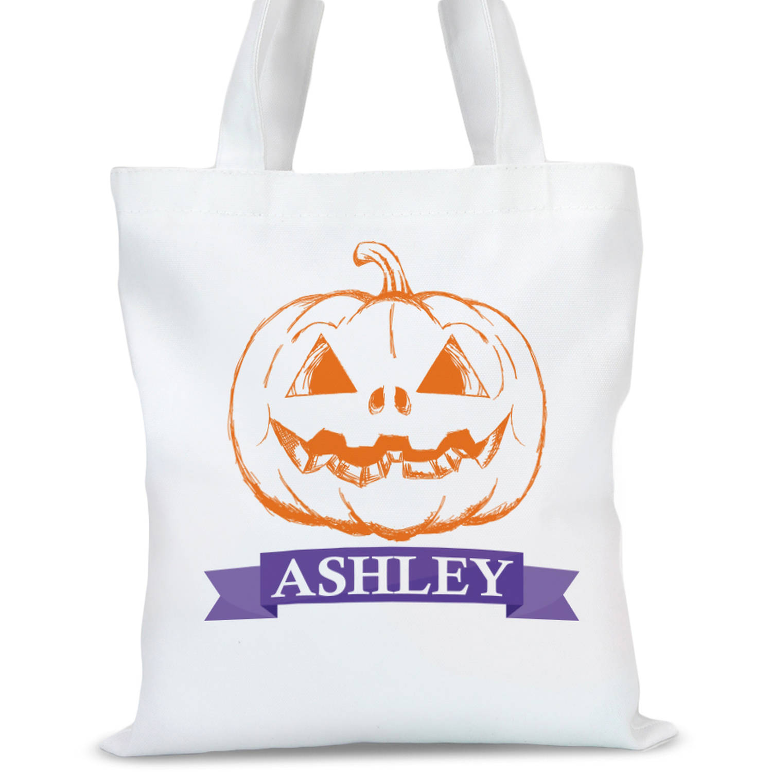 "Personalized Pumpkin Head Tote Bag, Sizes 11"" x 11.75"" and 15"" x 16.25"""