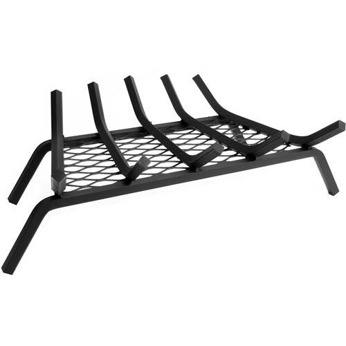 "Pleasant Hearth 21"" Wood Grate with 1/2"" Steel Bars, 5 Bars with Ember Retainer"