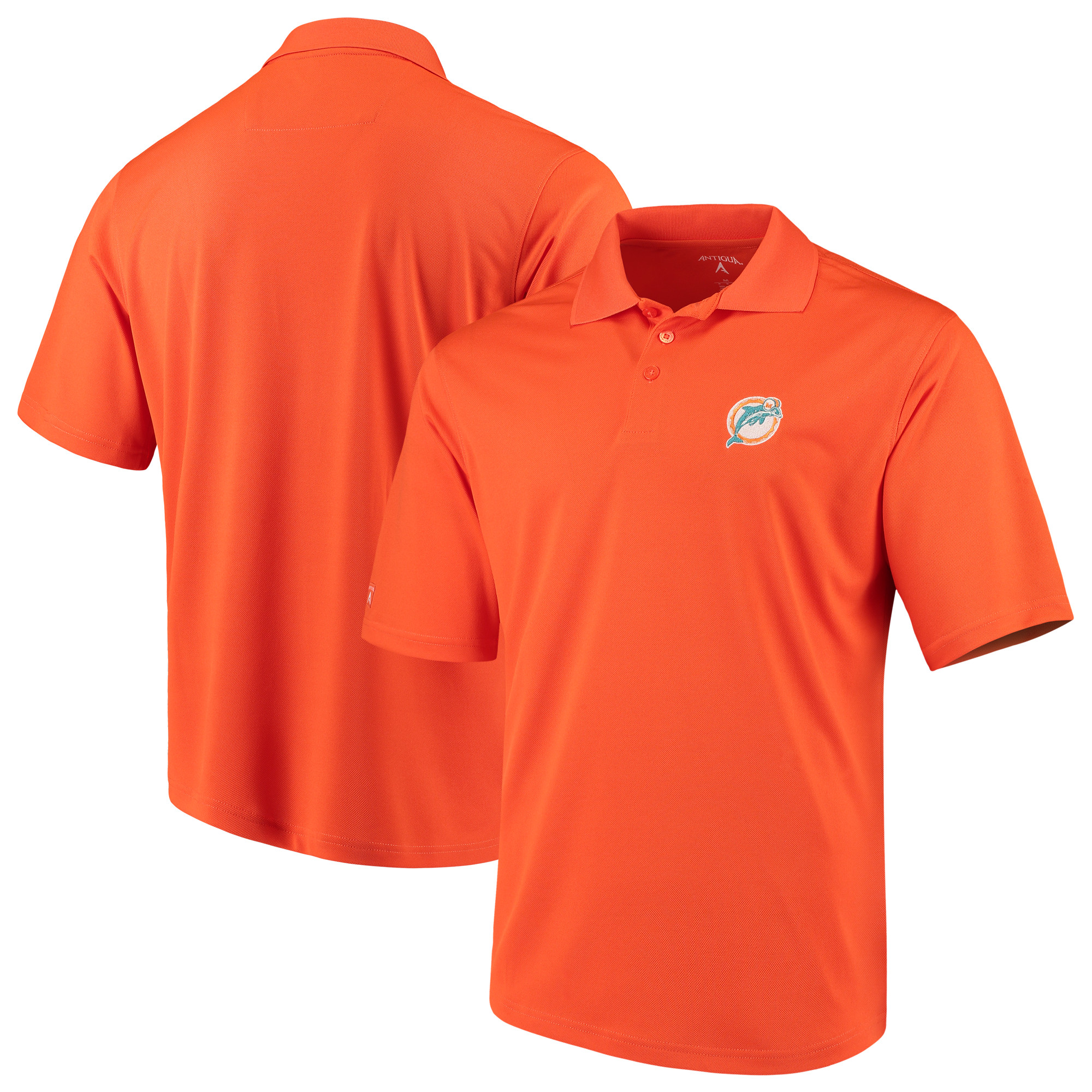Miami Dolphins Antigua Throwback Pique Polo - Orange