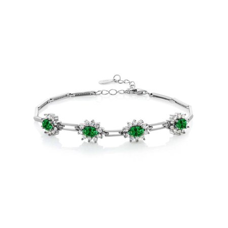 4.72 Ct Green Simulated Emerald 925 Sterling Silver Bracelet 7