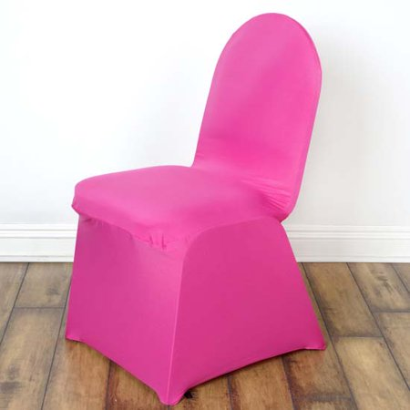 5PCS Stretchy Spandex Fitted Banquet Chair Cover, Fushia