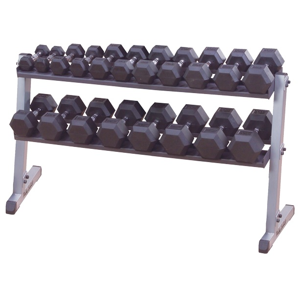 Body-Solid 5-50 Rubber Hex Dumbbell Set & GDR60 Rack and Rubber Mat