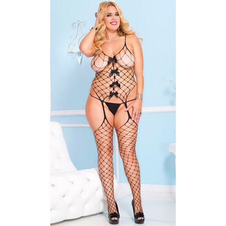 Plus Size Diamond Net Bodystocking, Plus Size Fishnet Bodystocking](Plus Size Bodystockings)