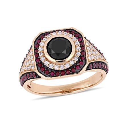 Black Hills Gold Ruby Ring (Asteria 1-1/4 Carat Black and White Diamond and 5/8 Carat T.G.W. Ruby 10kt Rose Gold Double Halo)