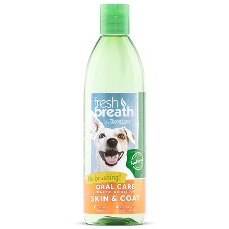 Fresh Breath by TropiClean Oral Care Water Additive Plus Skin & Coat, 16 Oz