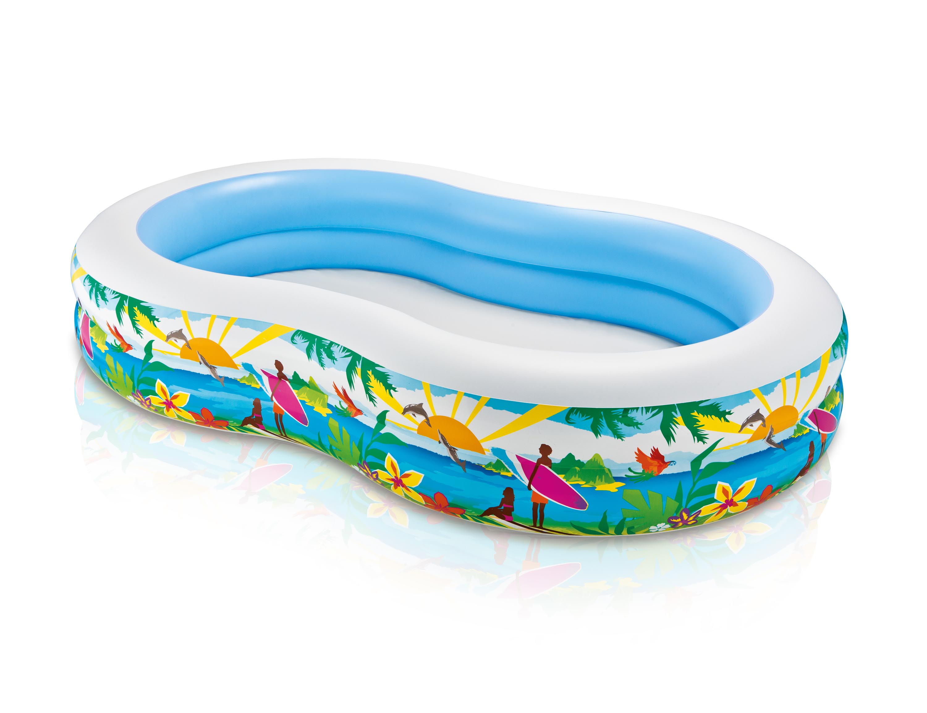 Intex 8.6' x 5.25' x 1.2' Paradise Lagoon Inflatable Kiddie Swimming Pool by Intex Recreation Corp.