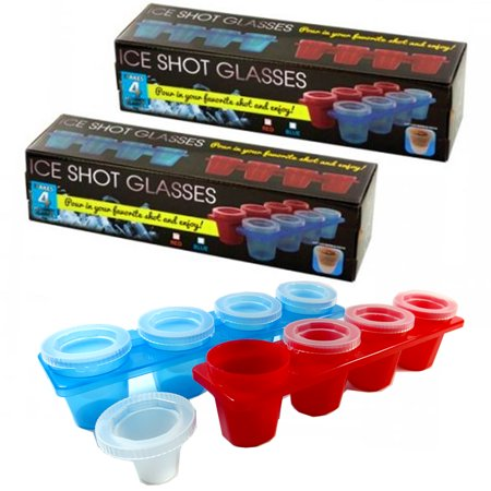 2 X Round Ice Shot Glasses Cube Tray 4 Cup Plastic Mold Cool Jello Party Drinks