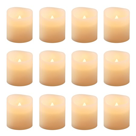 Flickering Battery Operated LED Votive Candles, 12-Count Battery Powered Led Candle