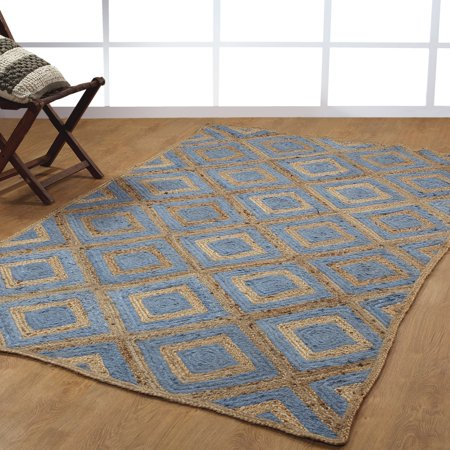 Hand Woven Braided Natural Fiber Jute And Cotton Area Rugs 6 X9