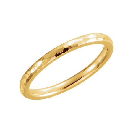 Comfort Fit Hammer (Jewels By Lux 14K Yellow Gold 2mm Comfort Fit Hammer Finish Bridal Wedding Ring Band Size 5)