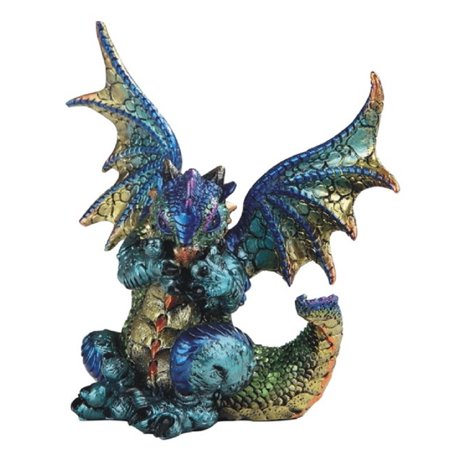 Purple and Green Dragon Covering Mouth Medieval Fantasy Figurine Decoration - New Fantasy Green