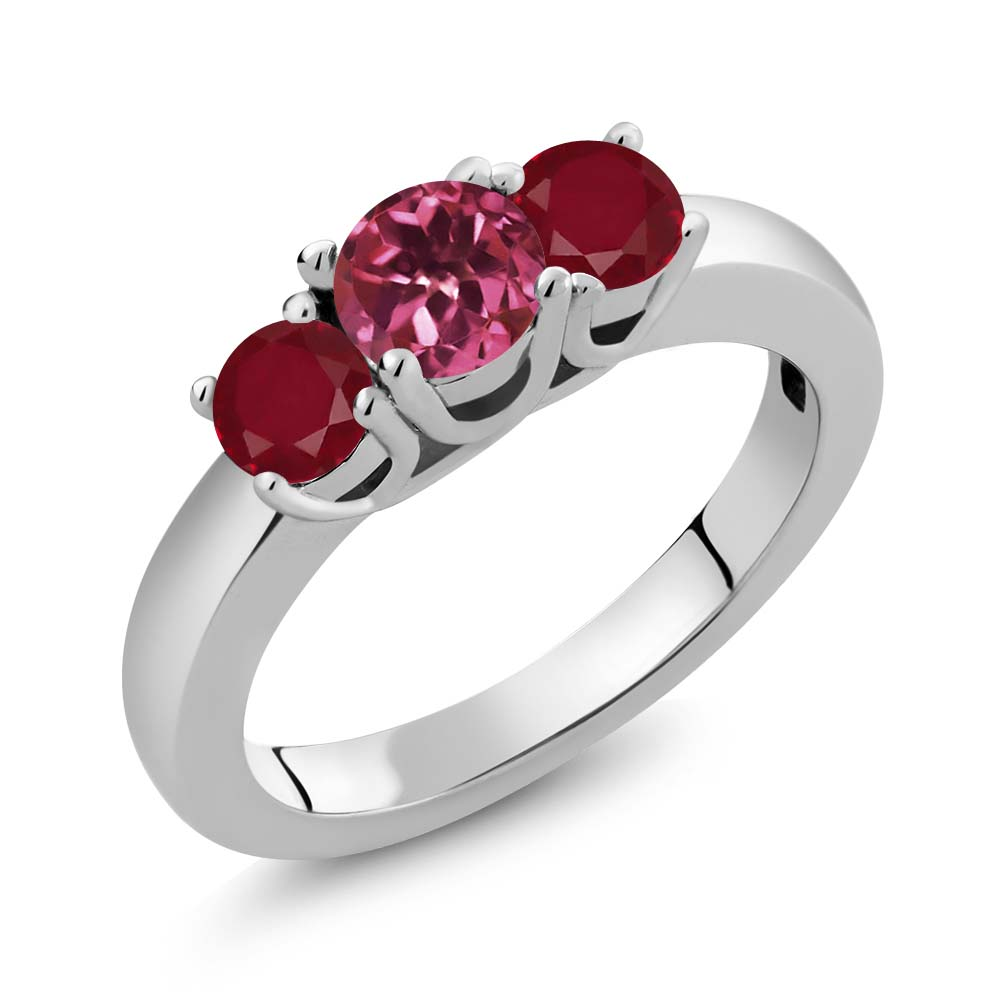 1.10 Ct Round Pink Tourmaline Red Ruby 18K White Gold Ring by