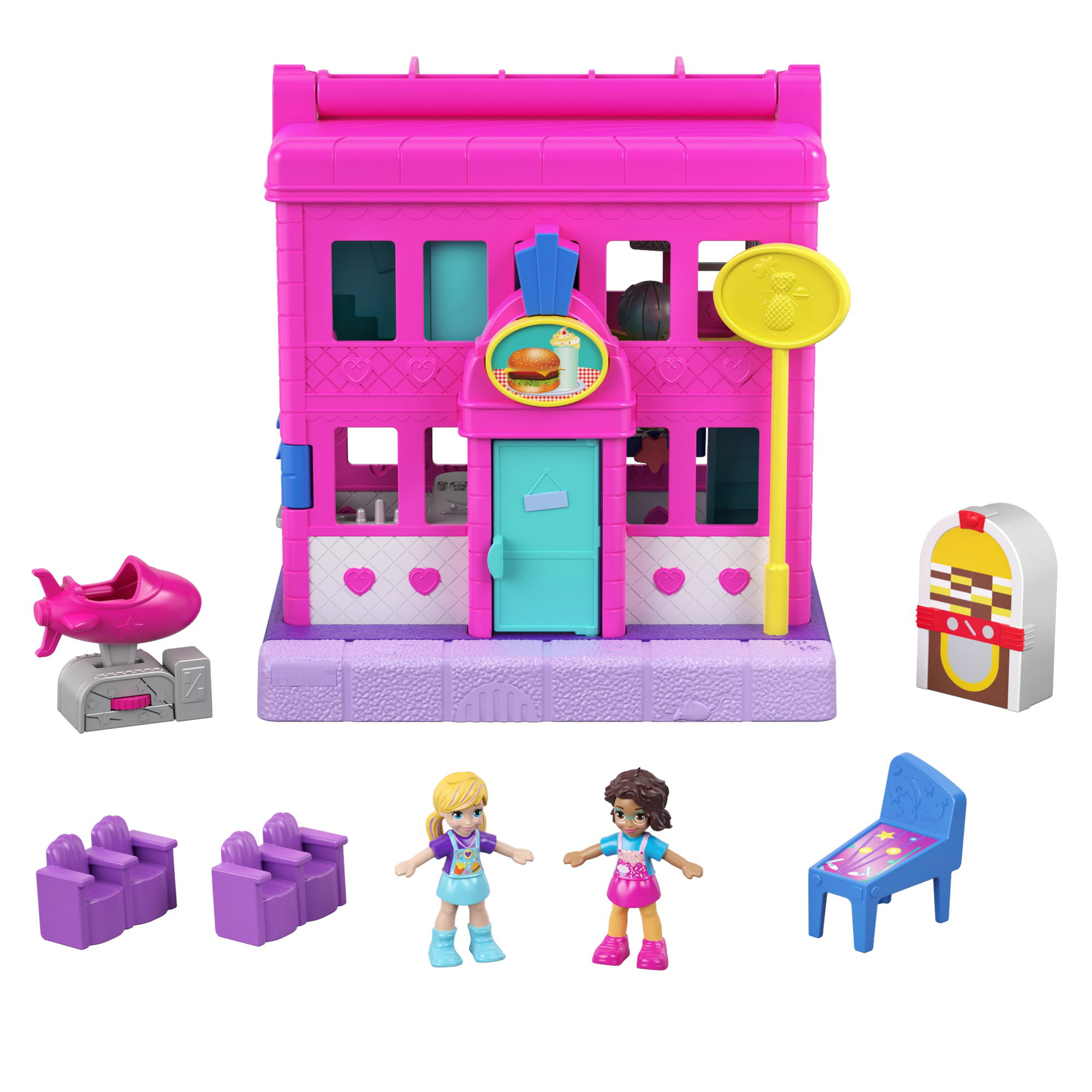 2 Micro Dolls Pollyville Pet Place with 4 Floors of Fun 1 Sticker Sheet and 5 Micro Accessories