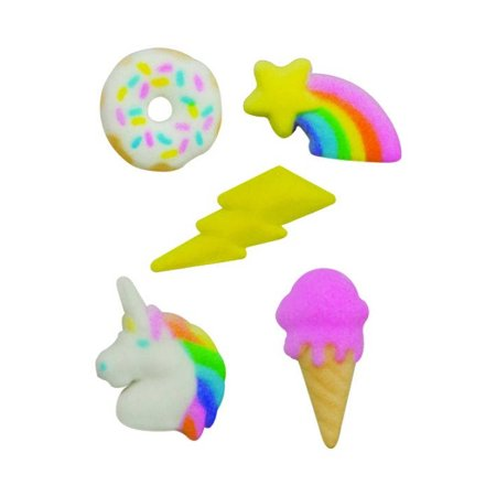 Rainbow Party Donut Ice Cream Cone Lightning Unicorn Sugar Decorations Toppers Cupcake Cake Cookies Birthday Favors Party 12 Count - Ice Cream Cone Decorations