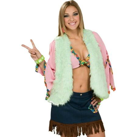 Adult 60s Groovy Hippie Costume Green Furry Costume Vest