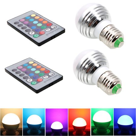 Ktaxon 2-Pack Dimmable A19 Magic RGB LED Light Bulbs, Color Changing, 160 Beam Angle, 3W, 16 Color Choice, Remote Controller Included, E27 Medium Base ()
