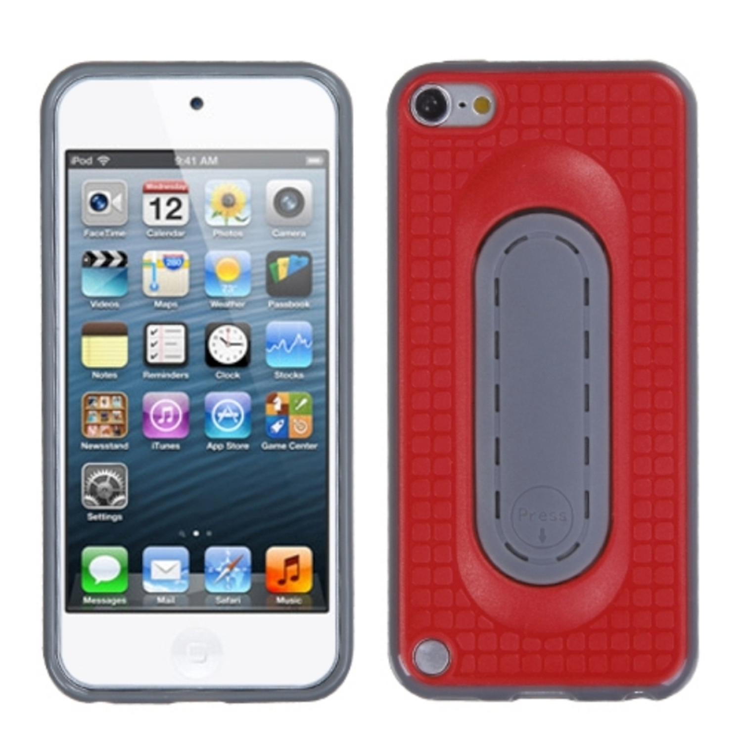 Insten Red Snap Tail Stand Case for iPod touch (5 5G 5th 6 6G 6th Gen)