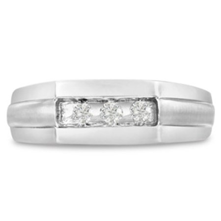 Men's 1/3ct Diamond Ring In 14K White Gold G-H I2-I3 Size 9.5