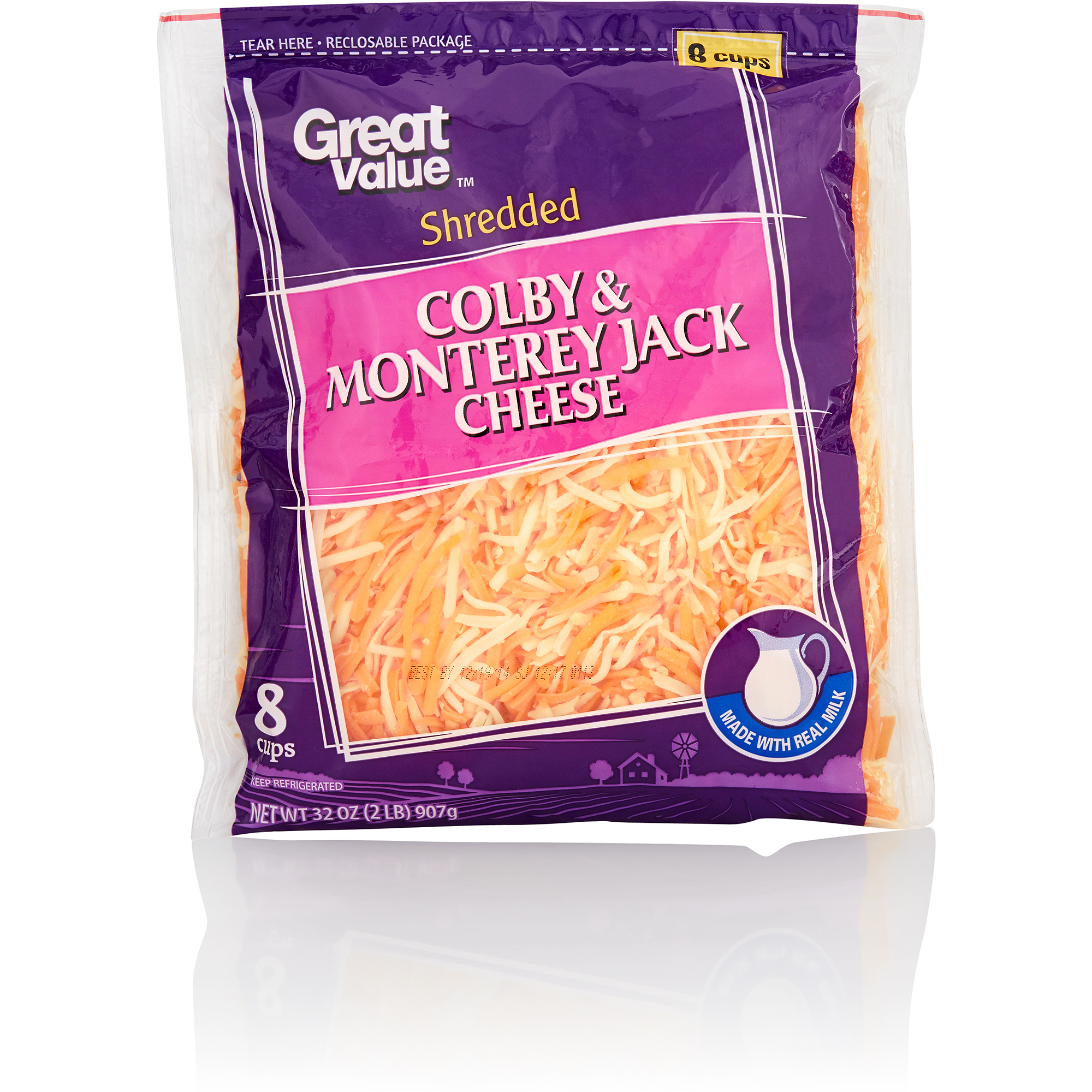 Great Value Shredded Colby And Monterey Jack Cheese, 32 oz