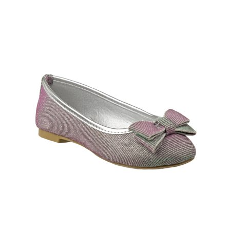 Laura Ashley Girls Silver Shimmery Textured Bow Accent Casual Flats