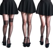 BMC Womens 3 Pair Nude Black Pantyhose Decorative Design Stocking Accessories