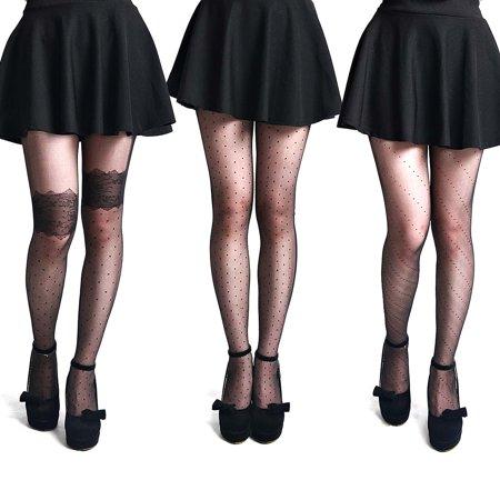 BMC Womens 3 Pair Nude Black Pantyhose Decorative Design Stocking - Set