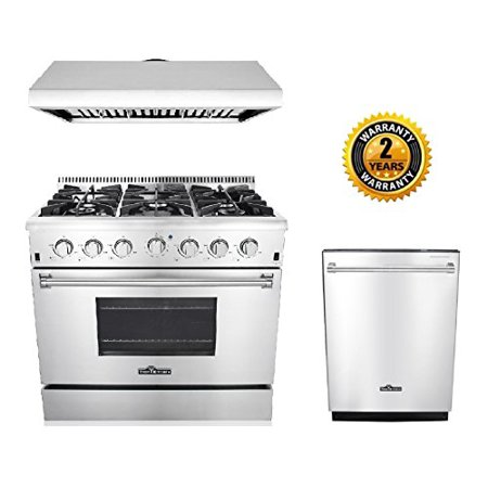 Thor Kitchen 3 Piece Kitchen Package With Hrg3618u 36   Pro Style 6 Burner Stainless Steel Gas Range  Hrh3606u 36   Under Cabinet Range Hood Stainless Steel And Hdw2401ss 24   Dishwasher Stainless Steel