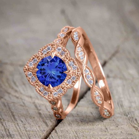 White Gold Semi Set - 2 Carat Round Cut Sapphire and Diamond Bridal Ring Set with Semi Eternity Wedding Band in Rose Gold