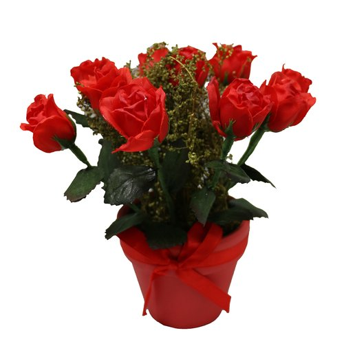 Charlton Home 10 Piece Roses Floral Arrangement in Ceramic Pot Set