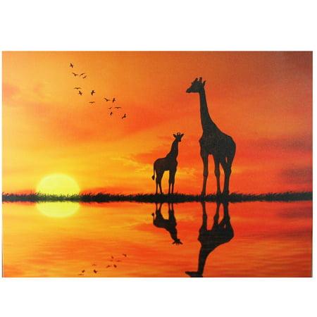 Safari Sunset LED Back Lit Giraffe and Baby Canvas Wall Art 11.75