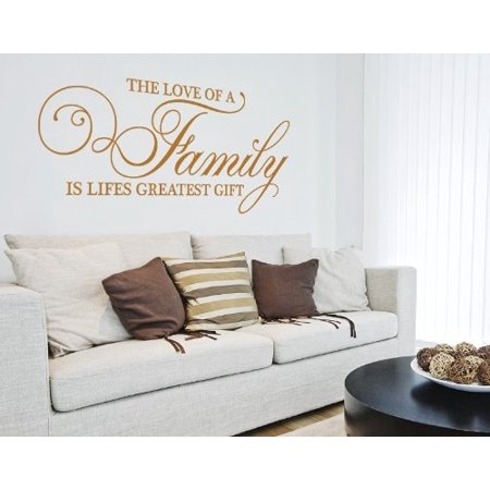 The Love of a Family is Lifes Greatest Gift Wall Decal - wall decal, sticker, mural vinyl art home decor, quotes and sayings - 3869 - Gold, 59in x 27in - Halloween Sayings For Teacher Gifts
