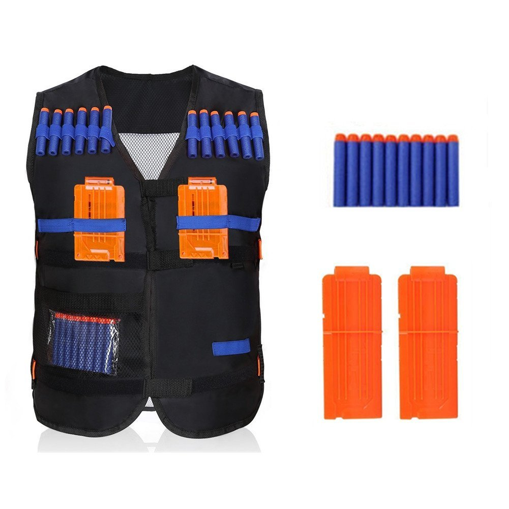 EECOO Kids Elite Black Tactical Vest+10pcs Soft Foam Darts+2 Dart Clips for Gun N-strike Elite Series