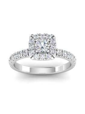 Certified G/I2 1cttw Diamond Halo Engagement Ring in 10k  White Gold