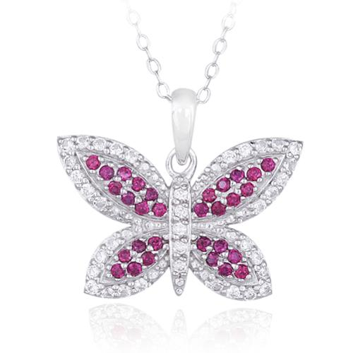 Glitzy Rocks  Sterling Silver Created Gemstone Butterfly Necklace