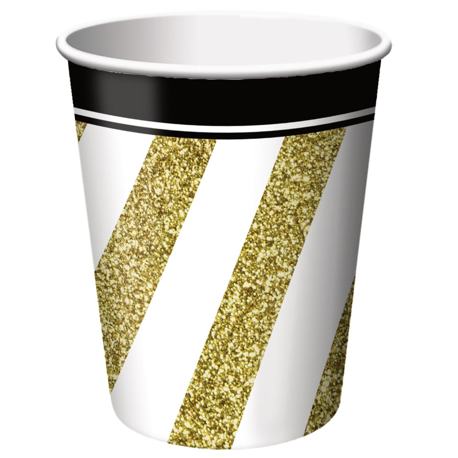 Club Pack of 96 Gold and White Striped Black and Gold Ensemble Disposable Paper Hot and Cold Drinking Party Cups 9 oz.